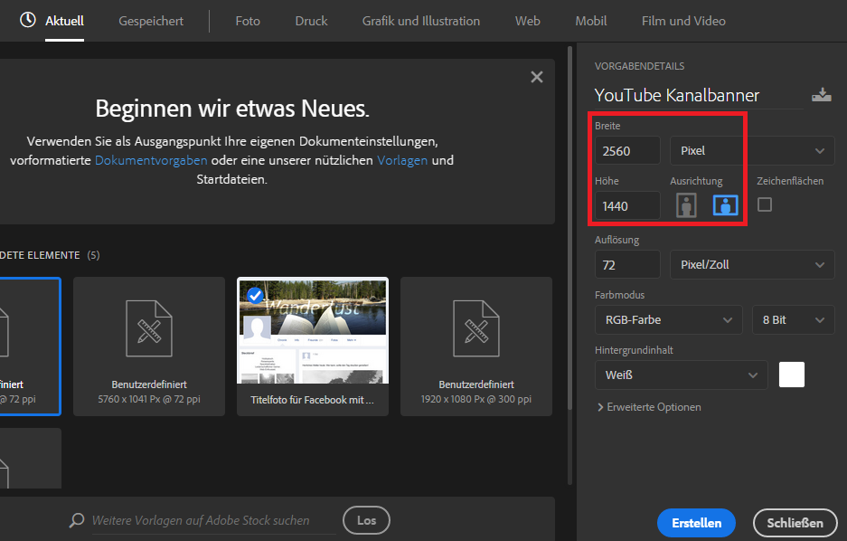 youtube banner größe vorlage