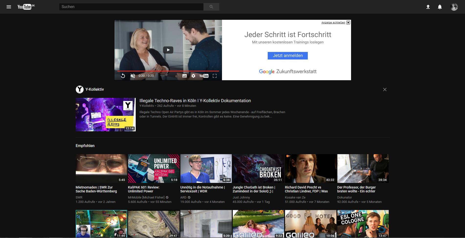 Neues YouTube Startseiten Design