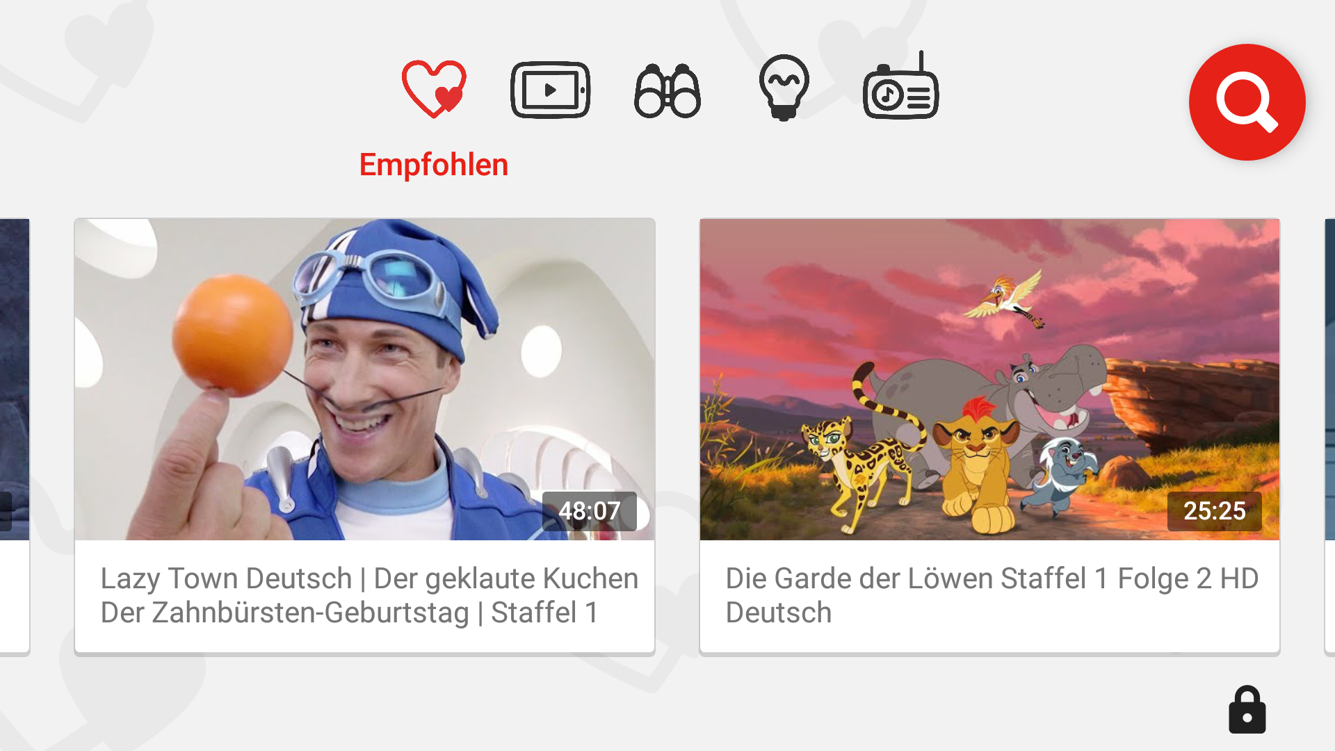 YouTube Kids Startseite